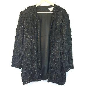 Tan-Chho Black Silk Embellished Evening Jacket 4X
